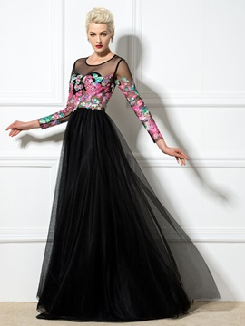 Fashion Sheer Neck Long Sleeves Lace-up Appliques Long Evening Dress