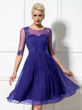 Modern Sheer Neck Half Sleeves Appliques Sequined Knee-Length Cocktail Dress