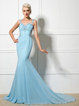 Ladylike Straps Backless Lace-up Appliques Long Mermaid Evening Dress