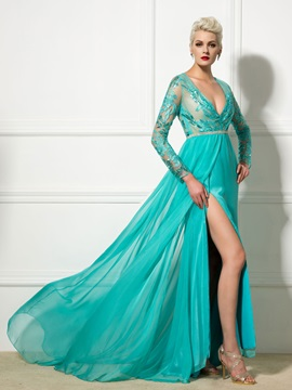 Amazing Deep V-Neck Long Sleeves Split-Front Appliques Evening Dress