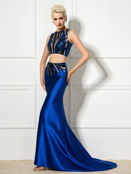 Fashionable Two Pieces Jewel Neck Sequined Mermaid Evening Dress
