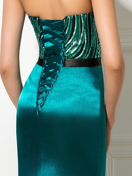 Elegant Sweetheart Sequined Lace-up Long Trumpet Evening Dress