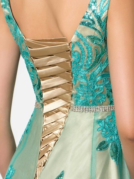 Amazing Square Neckline Straps Appliques A-Line Lace-up Long Evening Dress