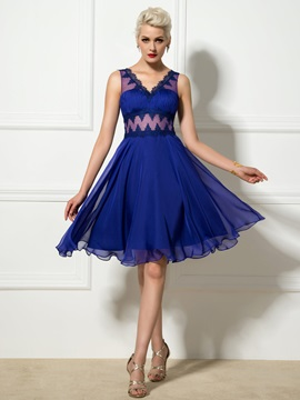 Super V-Neck Empire Waist Lace A-Line Knee-Length Cocktail Dress & Designer Dresses from china
