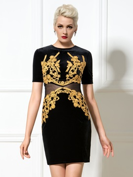Delicate Jewel Neck Sheath Short Sleeves Appliques Little Black Dress & Designer Dresses under 500