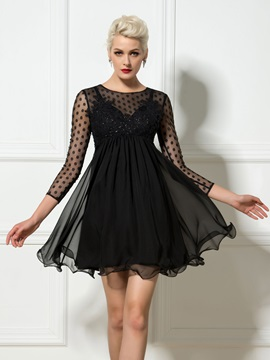 Modern Scoop Neck Empire Waist 3/4-Length Sleeve Appliques A-Line Short Cocktail Dress & Designer Dresses on sale