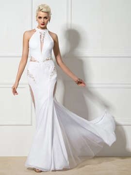 Modern Criss-Cross Straps Appliques Hollow Long Mermaid Evening Dress & Designer Dresses 2012