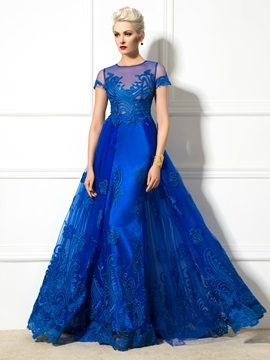 Graceful Jewel Neck Appliques Short Sleeve Lace-up Long Evening Dress & Designer Dresses 2012