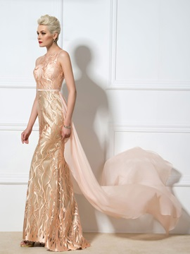 Sexy Sheer Neck Embroidery Lace Sheath Lace-up Watteau Train Long Evening Dress