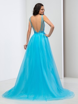 Amazing Deep V-Neck Lace Crystal Backless Long Prom Dress