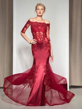 Amazing Off-the-Shoulder Sequined Appliques Half Sleeves Long Evening Dress