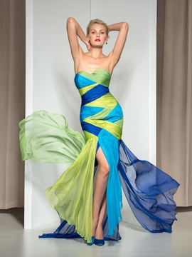 Chic Sweetheart Pleats Split-Front Color Block Long Evening Dress & Designer Dresses under 300