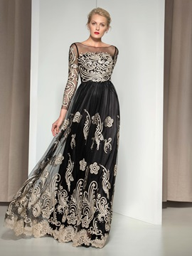 Vintage Sheer Neck Long Sleeves Appliuqes Lace-up Long Evening Dress & Designer Dresses online