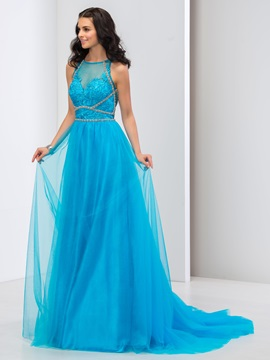 Delicate A-Line Scoop Neck Appliques Beaded Long Tulle Prom Dress