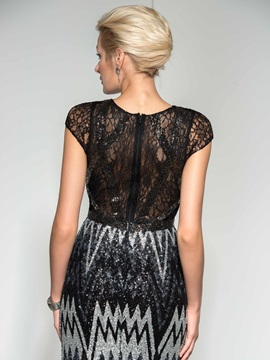 Sparking V-Neck Cap Sleeves Lace Trumpet Long Sequined Evening Dresss
