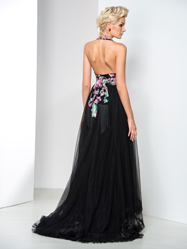 Modern Backless Deep V-Neck Appliques Asymmetrical Evening Dress