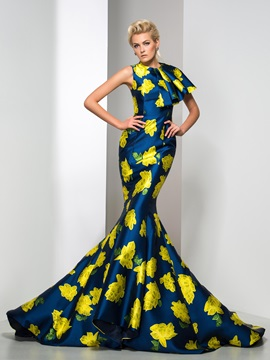 Amazing Jewel Neckline Tiered Long Mermaid Floral Printed Evening Dress & Designer Dresses for less