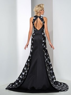 Fashionable Jewel Neckline Flowers Long Printed Trumpet Evening Dress