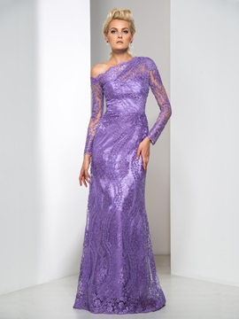 Graceful One Shoulder Long Sleeve Column Long Lace Evening Dress & fairy Designer Dresses
