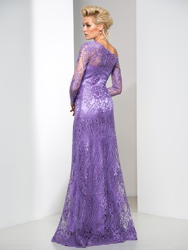 Graceful One Shoulder Long Sleeve Column Long Lace Evening Dress