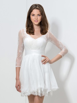 Simple V-Neck A-Line 3/4-Length Sleeves Short White Lace Dress & inexpensive Designer Dresses