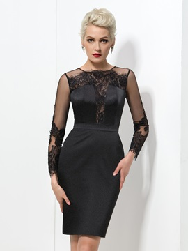 Elegant Jewel Neck Long Sleeve Sheath Lace Knee-length Black Dress & formal Designer Dresses