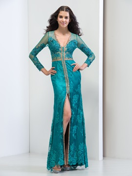 Graceful V-Neck Long Sleeve Sheath Split-Front Long Lace Evening Dress & Designer Dresses under 100