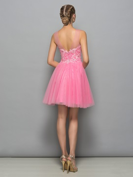 Lovely Straps Appliques Beading Short Homecoming Dress