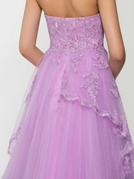 Dramatic Sweetheart A-Line Appliques Long Evening Dress