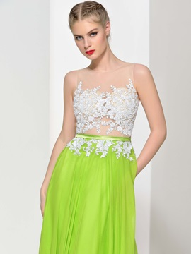 Amazing Sheer Neck Appliques Bowknot Pearls Long Prom Dress