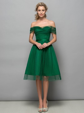 Simple Off the Shoulder Sash Knee-Length Tulle Cocktail Dress & Designer Dresses under 300