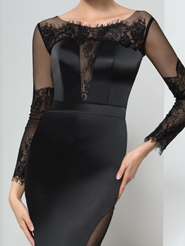 Graceful Scoop Neck Long Sleeve Lace Sheath Long Evening Dress
