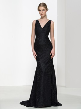 Classic V-Neck Straps Black Lace Evening Dress & Designer Dresses on sale