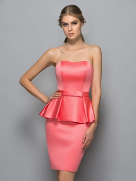 Simple Sweetheart Bowknot Sheath Formal Dress