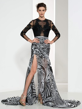 Sexy Backless Jewel Neck Long Sleeve Appliques Print Evening Dress & Designer Dresses under 100