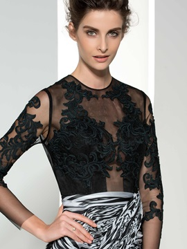 Sexy Backless Jewel Neck Long Sleeve Appliques Print Evening Dress