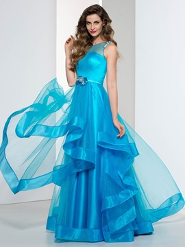 Fashionable Straps Tiered Beading Long Prom Dress & Designer Dresses 2012