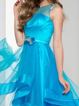 Fashionable Straps Tiered Beading Long Prom Dress