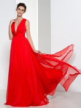Attractive V-Neck Pleats Button Red Evening Dress