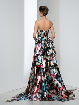 Chic Strapless A-Line Tiered Print Evening Dress