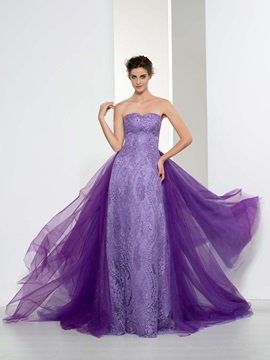 Vintage Sweetheart Beading Tiered Lace Evening Dress