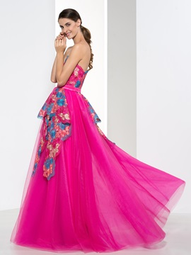 Fashionable Sweetheart Appliques Rulles Long Prom Dress