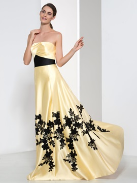 Elegant Strapless Appliques A-Line Long Evening Dress