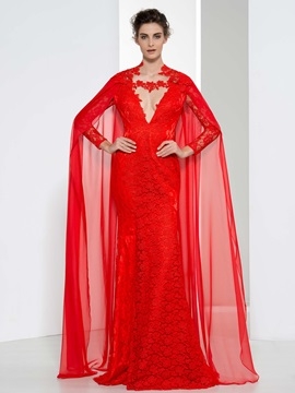 Fashionable V-Neck Long Sleeves Red Lace Evening Dress