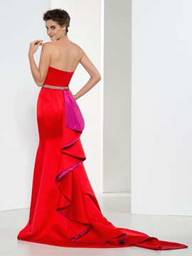 Elegant Strapless Beaded Waist Ruffles Mermaid Evening Dress