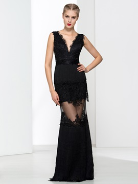 Sexy V-Neck Appliques Tassel Sheath Evening Dress & simple Designer Dresses