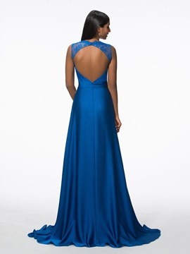 Elegant Straps Beading Lace Backless Evening Dress