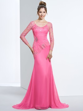 V-Neck Long Sleeves Beading Lace Evening Dress & Designer Dresses from china