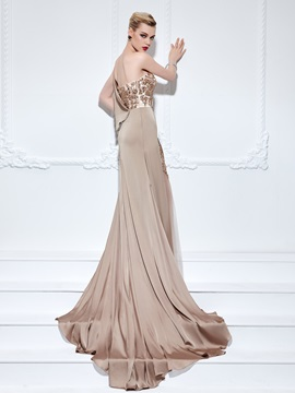Elegant One Shoulder Appliques Beading Long Evening Dress & Designer Dresses for less