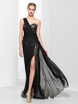 Chic One Shoulder Sequins Split-Front Evening Dress